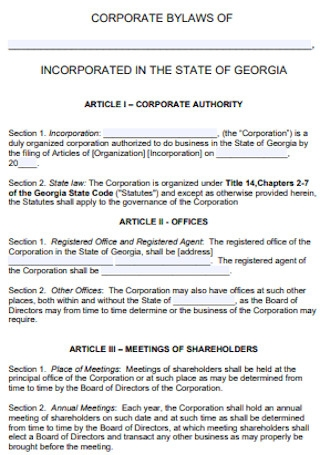 Corporate Authority Bylaws