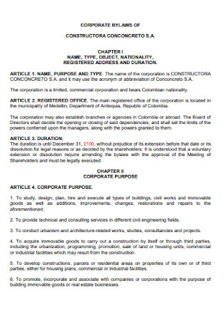 Corporate Bylaws of Contractor