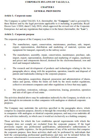 Corporate Bylaws of General Provision