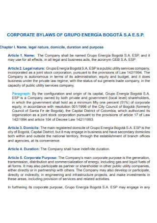 Corporate Bylaws of Groups