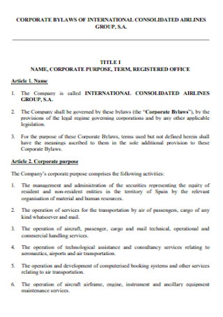 Corporate Bylaws of International Airlines
