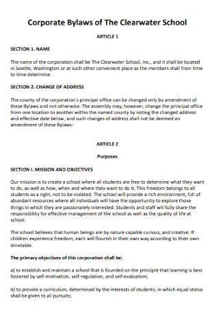 Corporate Bylaws of The Clearwater School