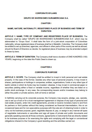 Corporate Company Bylaws