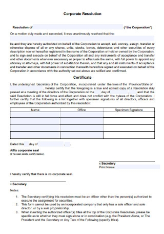 Corporate Resolution Clear Form