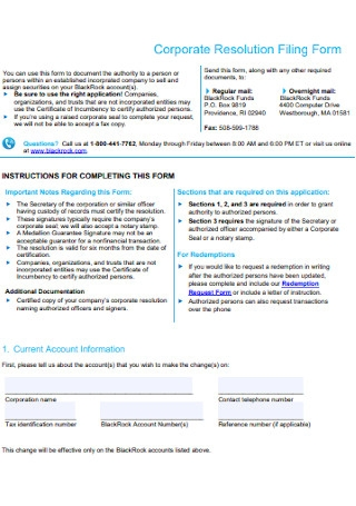 Corporate Resolution Filing Form
