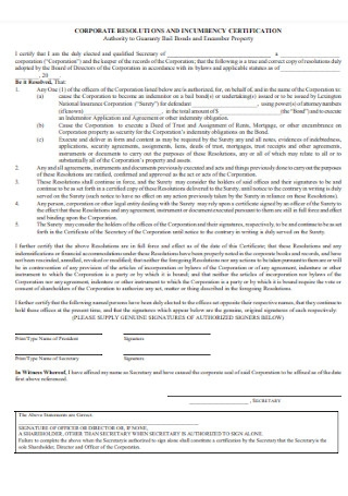 Corporate Resolution and Certificate of Incumbency