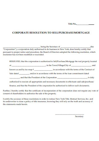 Corporate Resolution to Sell Form