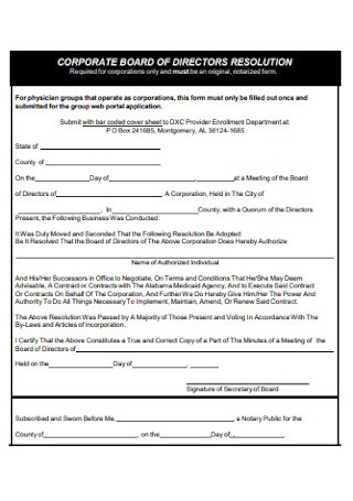 Corporate of Directors Resolution Form