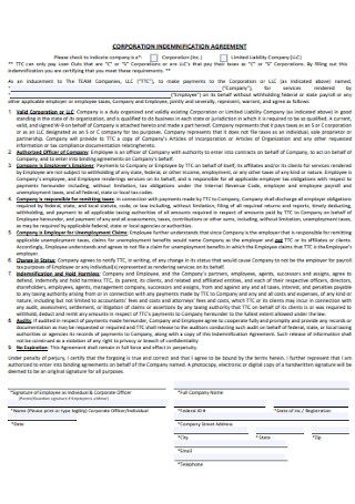Corporation Indemnification Agreement