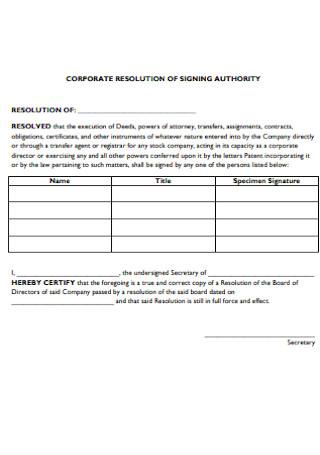 Corporation Reslolution of Singing Form