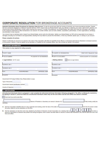 Corporation Resolution for Brokarage Account Form