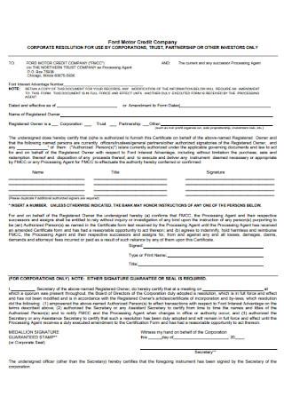 Corporation Trust Resolution Form