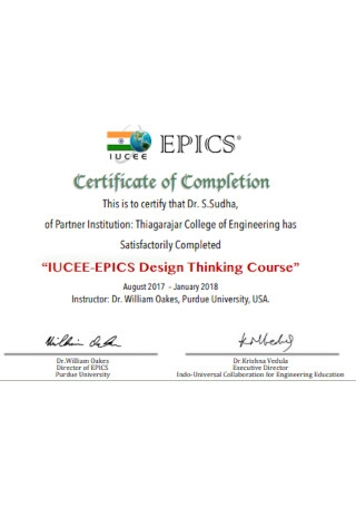 Course Certificate of Completion