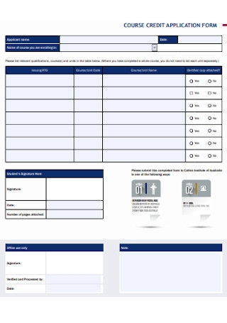 Course Credit Application Form
