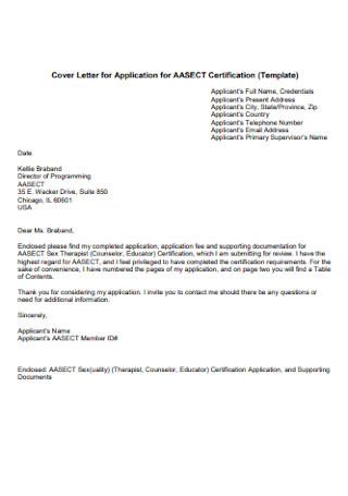 Cover Letter for Application for Certification