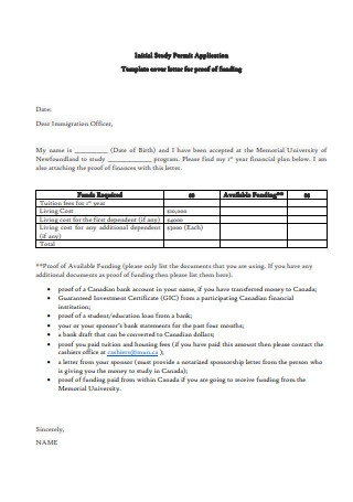Cover Letter for Proof of Funding