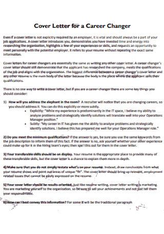Cover Letter for a Career Changer