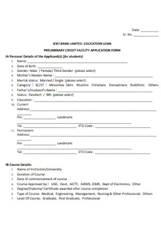 Credit Faculty Application Form