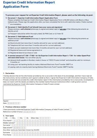 Credit Information Report Application Form