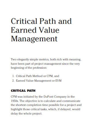 Critical Path and Value Management