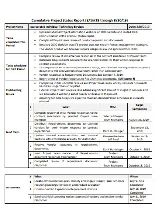 Cumulative Project Status Report
