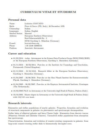 Curriculum Vitae Studiorum