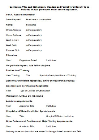 Curriculum Vitae and Bibliography