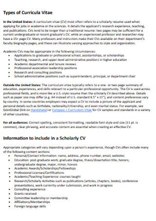 Curriculum Vitae for Academic