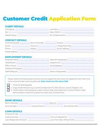 Customer Credit Application Form Format