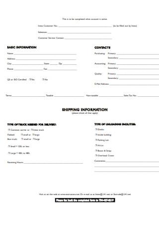 Customer Profile Sheet