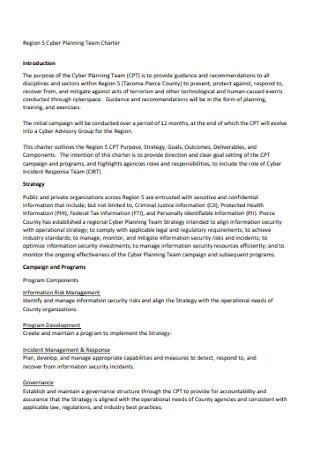 Cyber Planning Team Charter