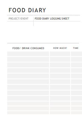 Daily Food Log Sheet