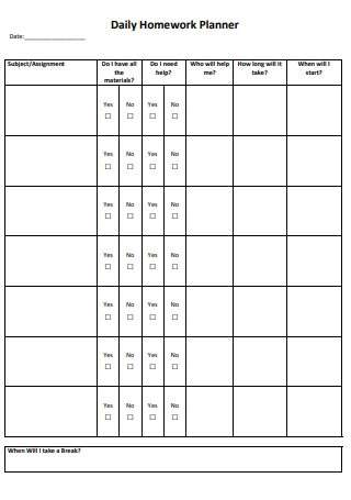 Daily Homework Planner Format