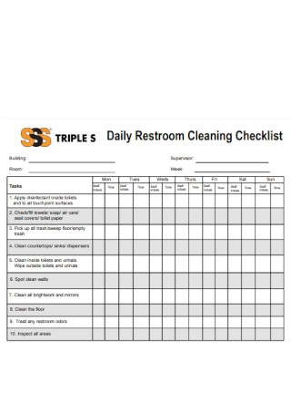 Daily Restroom Cleaning Checklist