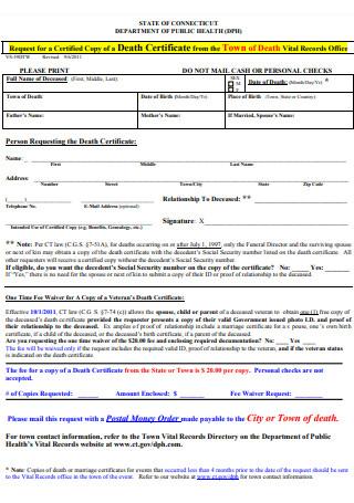 Death Certificate Request