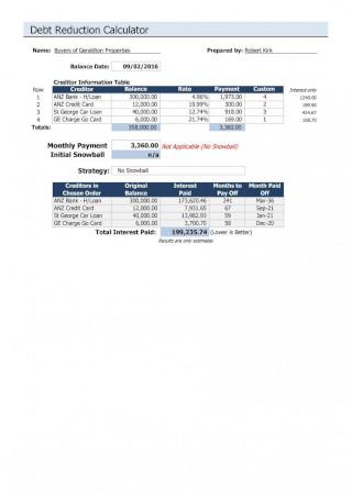 Debt Reduction Calculator Sample
