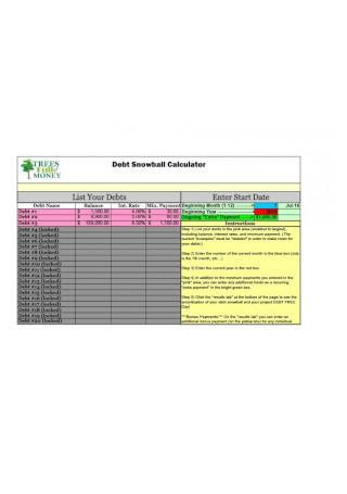 Debt Snowball Calculator Sample