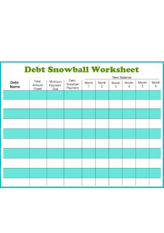 Debt Snowball Worksheet in PDF