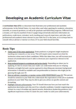 Developing an Academic Curriculum Vitae