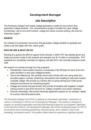 Development Manager Job Description