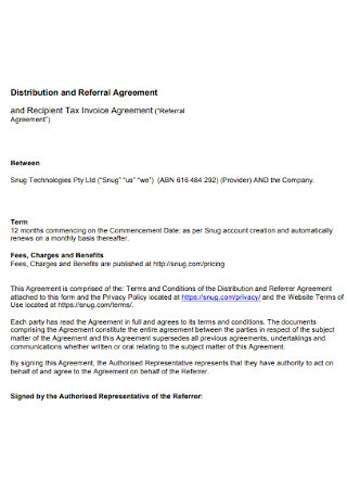 Distribution and Referral Agreement