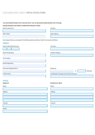 Documentary Credit Application Form