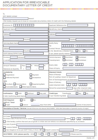Documentary Credit Application Form1