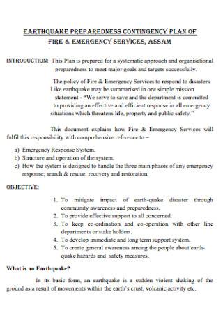 Earthqake Preparedness Contingency Plan