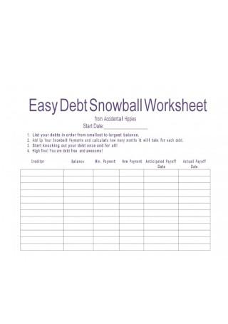 Easy Debt Snowball Worksheet