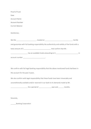 Editable Proof of Funds Letter