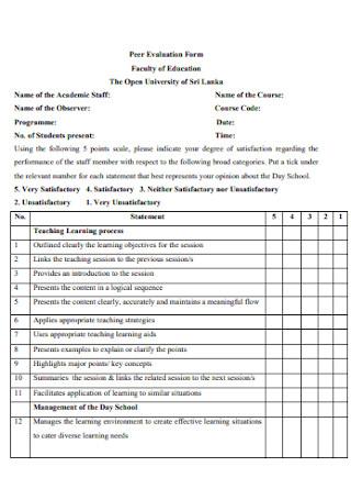 Education Peer Evaluation Form
