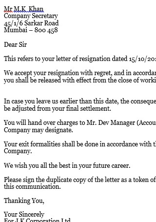 Employee Job Relieving Letter