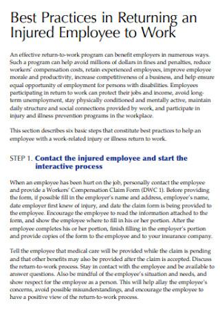 Employee Return to Work