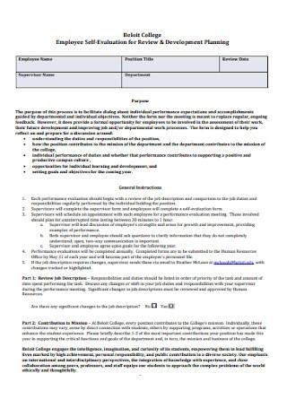 Employee Self Evaluation Sample